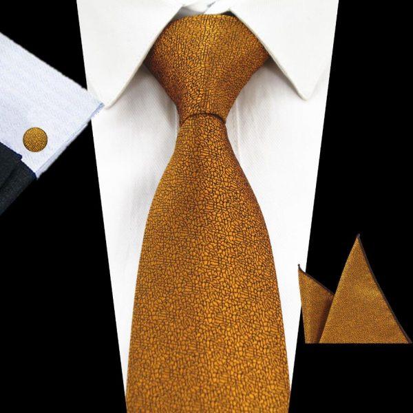 RBOCOTT-stropdas-pochet-manchetknopen-luxe-goud-bruin