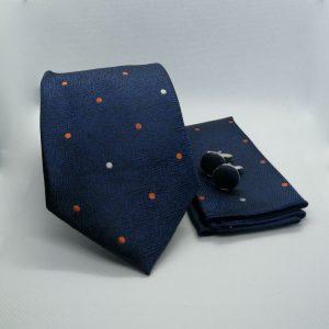 blauw-stippen-stropdas-pochet-manchetknopen