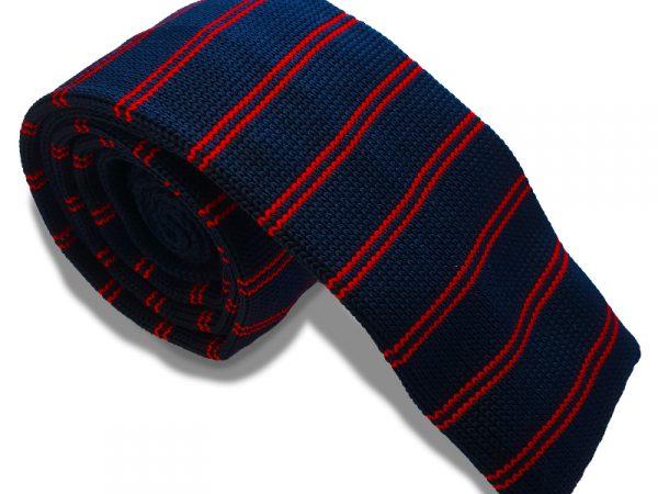gebreide-rood-blauw-stropdas