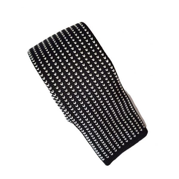 gebreide-stropdas-zwart-wit-patroon