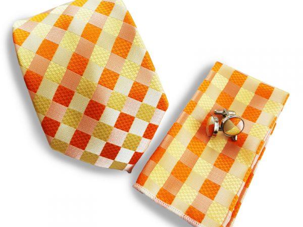 oranje-ruit-stropdas-set