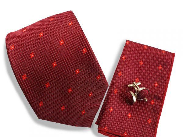 stropdas-bordeaux-rood-set