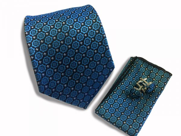stropdas-set-blauw-patroon