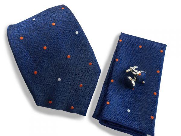 stropdas-set-blauw-stippen