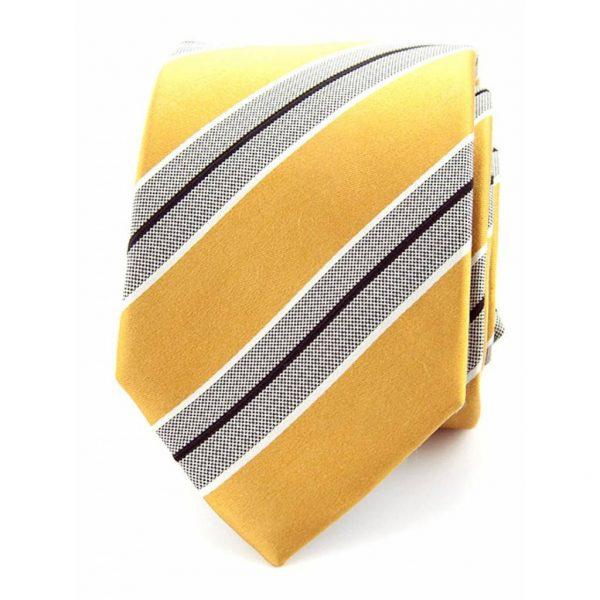 stropdas-zijde-gestreept-geel