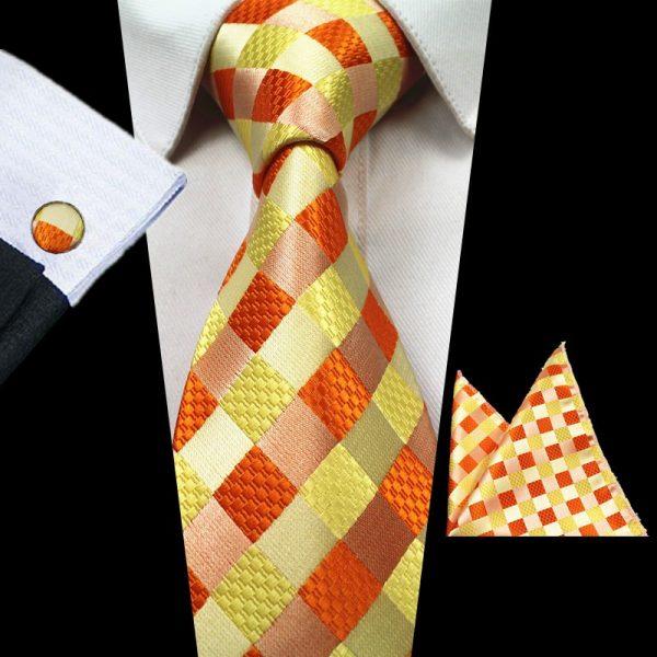 stropdassen-set-oranje-ruit