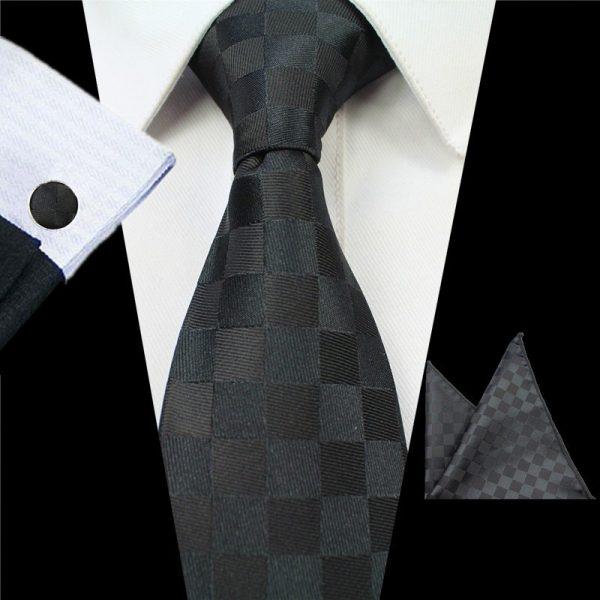 stropdassen-set-zwart-geblokt