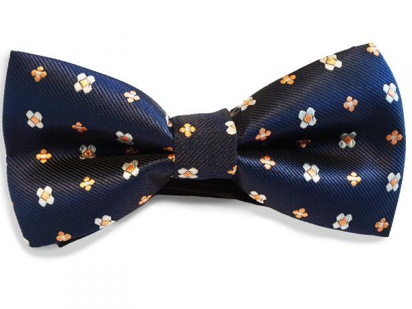 vlinderdas-blauw-oranje-bloemen